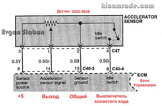 Схема подключения датчика: